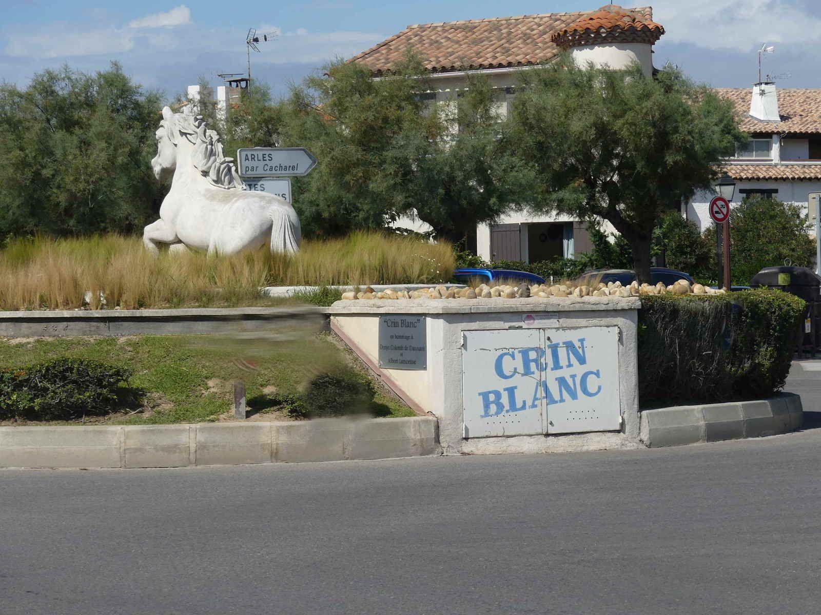 Crin Blanc occupe une place privilégiée sur un rond-point à l'intérieur de la ville.