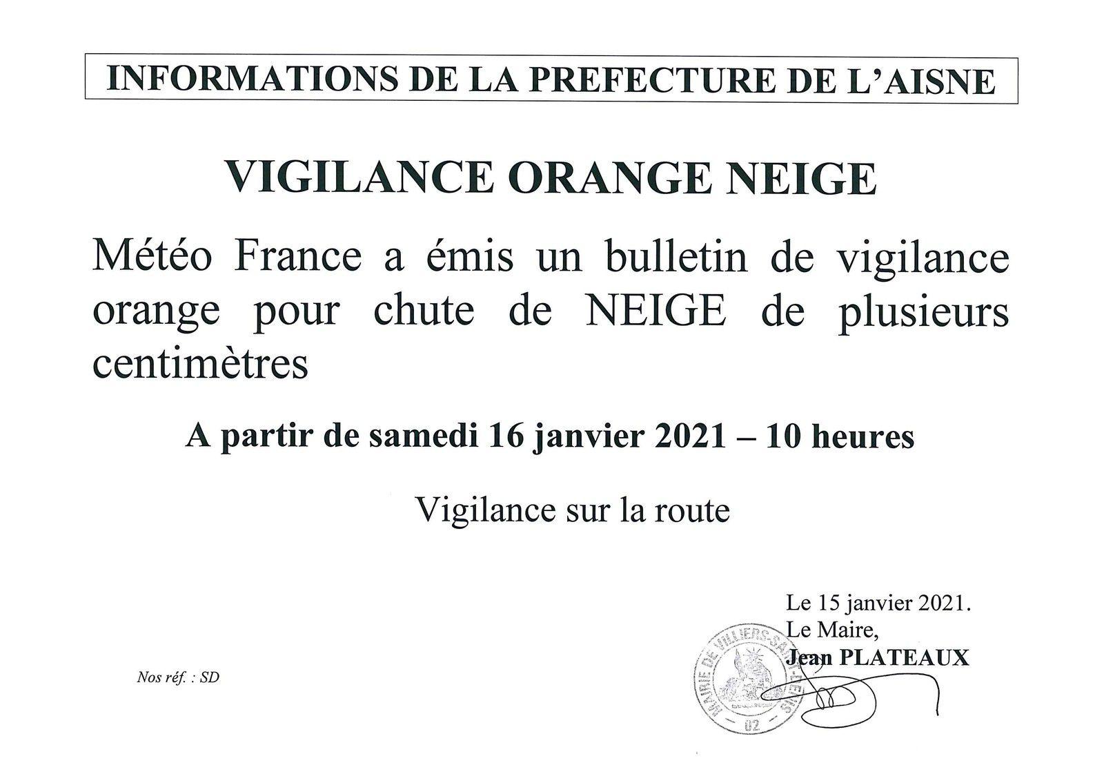 Vigilance météo 16 janvier 2021