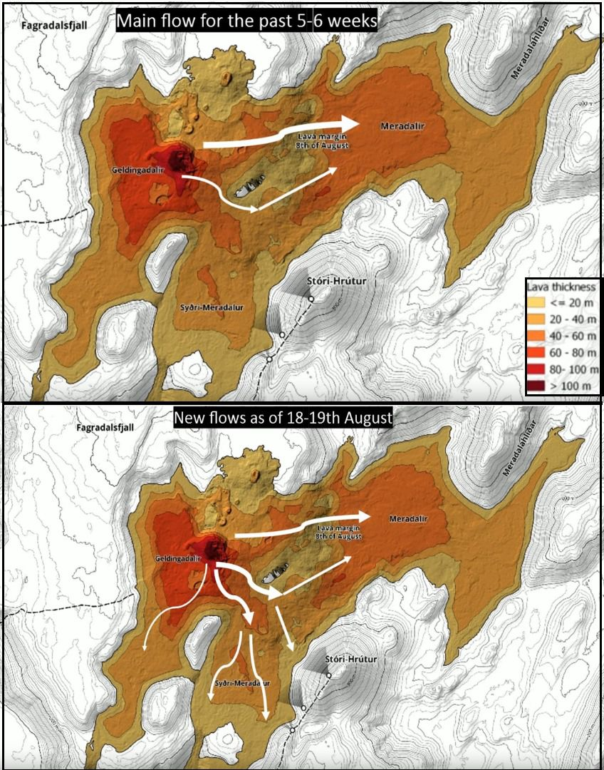 Fagradalsfjall - lava flows and main flow directions over the last 5 weeks, with change August 18-19, 2021 - map based on doc. Institute of Natural History & al
