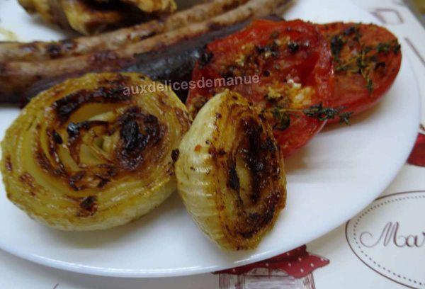 oignon et tomate au barbecue