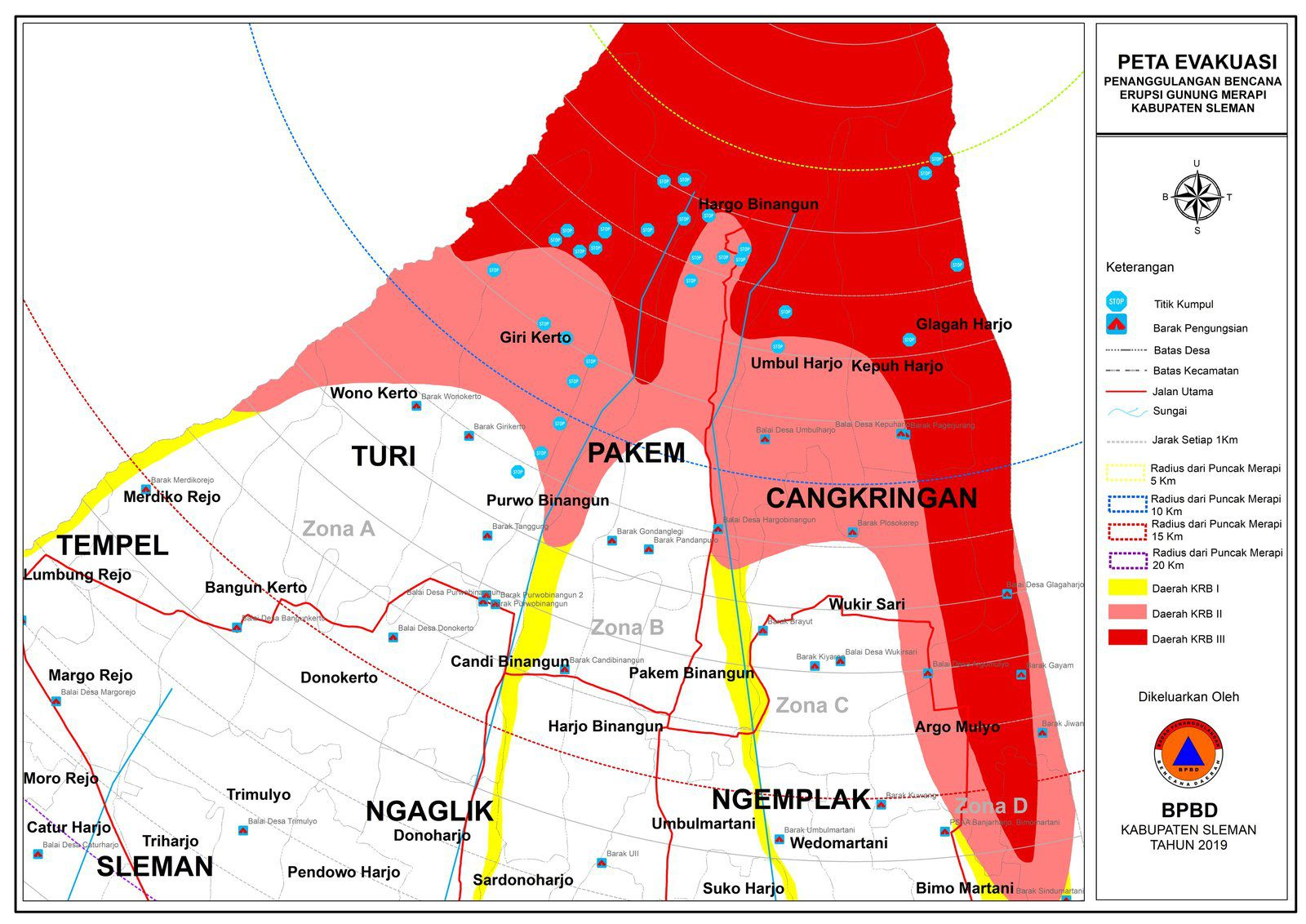 Merapi - map of evacuation zones - Doc. BPBD 09.11.2020