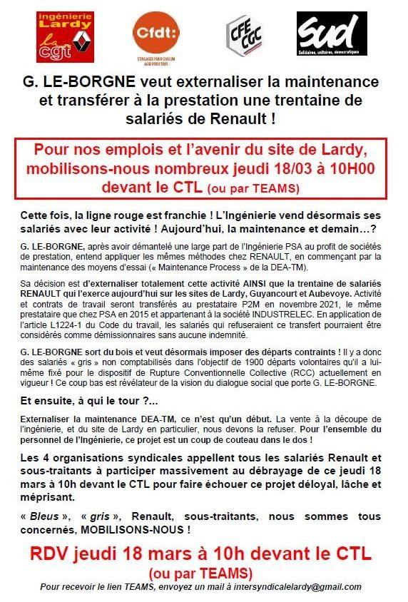 Externalisation de la maintenance à Renault Lardy
