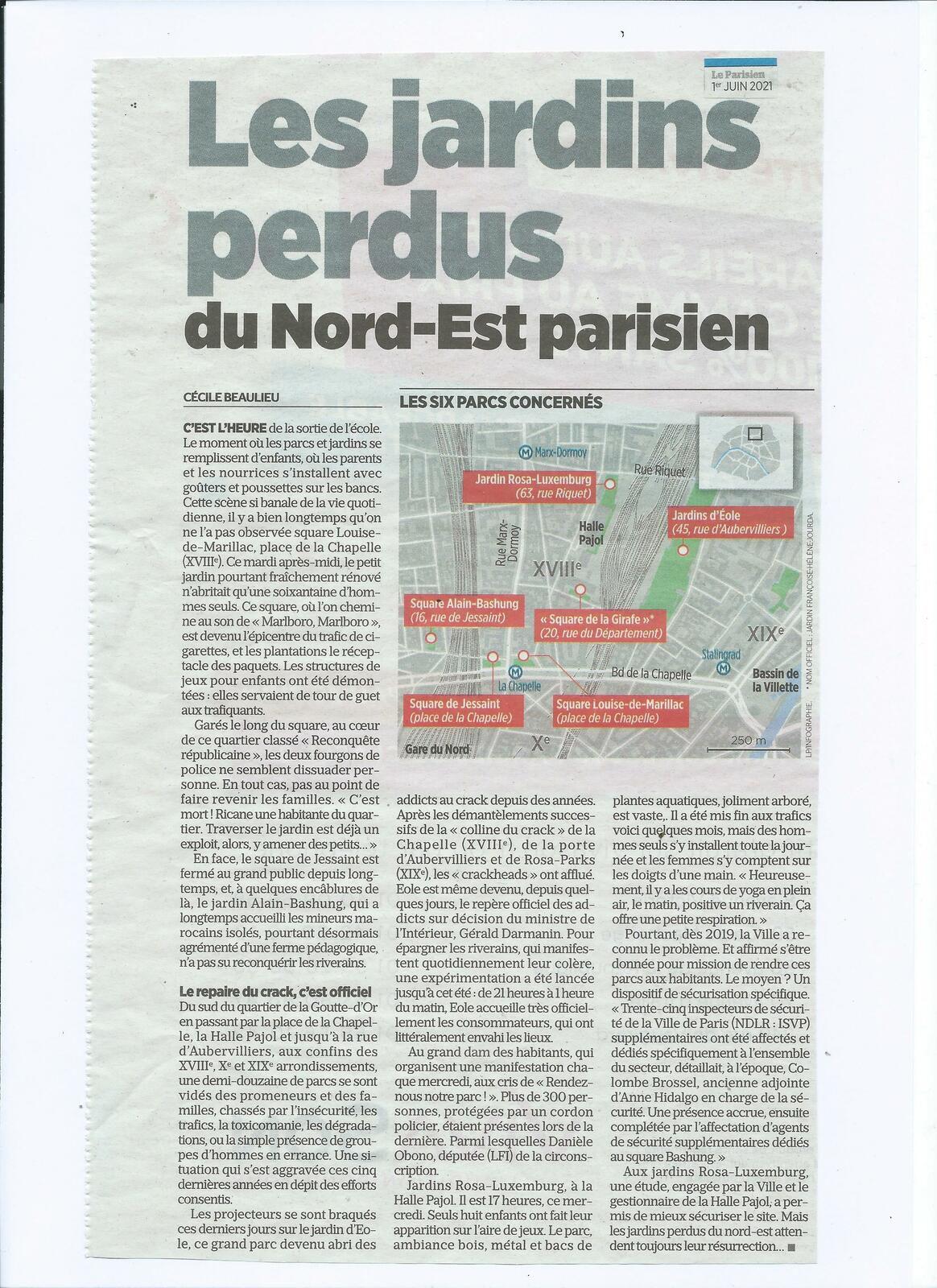 """Le Parisien : dossier-article """"Les jardins perdus du Nord-Est parisien"""" (1.06.2021) - version JPEG."""