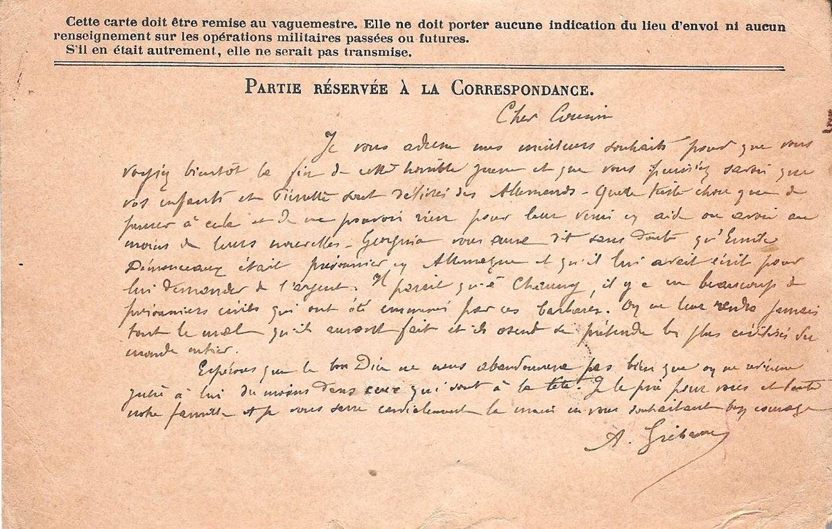 Carte de l'abbé Gréhan à Pierre Lucien Lemaire, du 7 octobre 1916