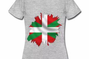 T shirt Pays Basque gris femme Drapeau Basque 64