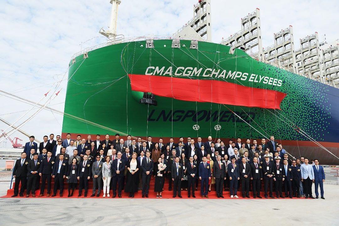 Entrée en flotte du CMA CGM Champs Elysées, 2e porte-conteneurs au GNL du groupe