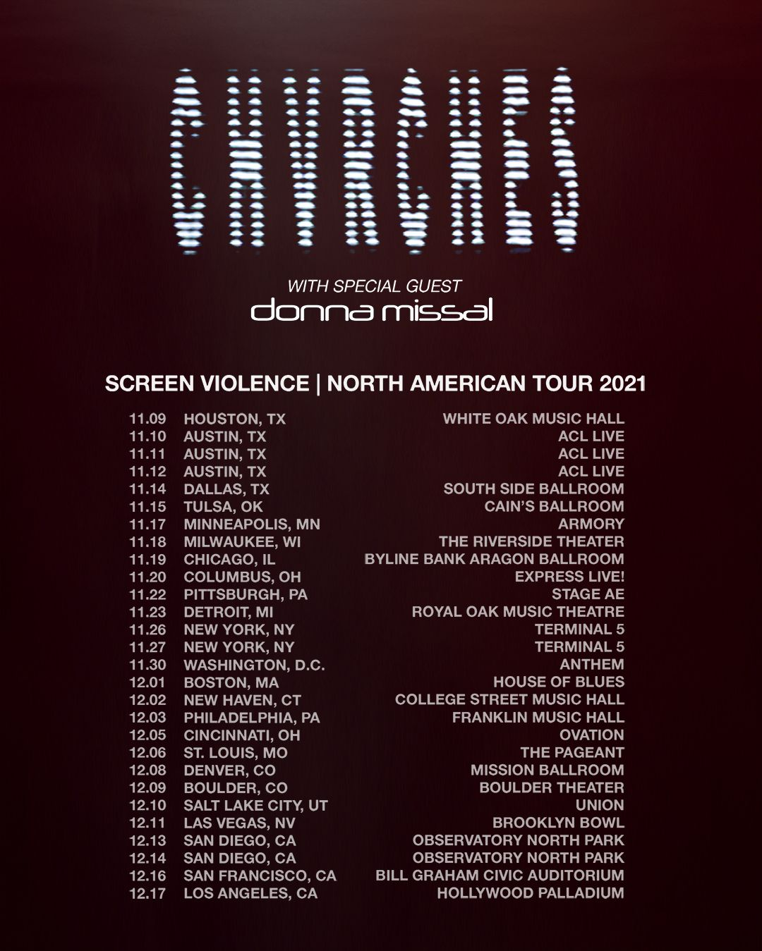 NEW ALBUM 'SCREEN VIOLENCE' AND NORTH AMERICAN TOUR ANNOUNCED BY CHVRCHES