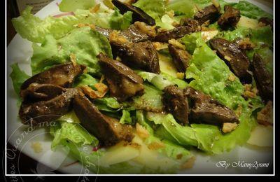 Salade tiède aux coeurs de canards et madère