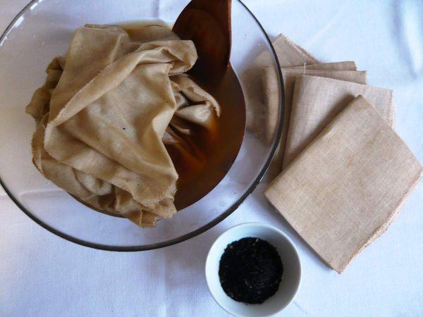Lino teñido con té. Novedad en La Casina Roja