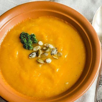 Soupe chaude de potimarron et carottes