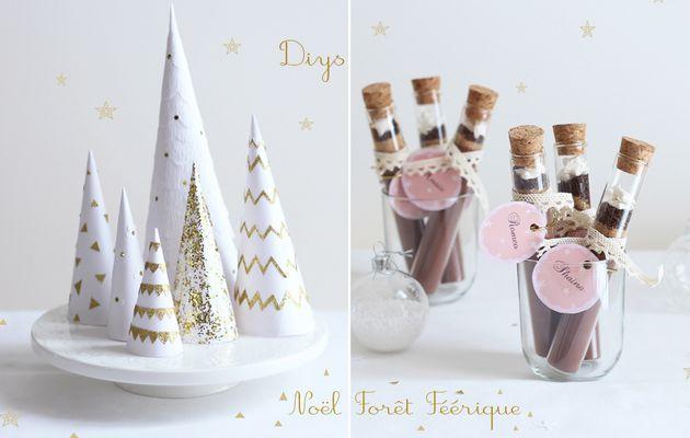 DIYs de ma table de noël 'forêt féérique' :  forêt de sapin enchantée, kit cadeau chocolat gourmand, couronne de l'avent & photophore