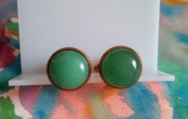 Boutons manchette laiton bronze avec cabochons ronds en aventurine quartz vert pierreprecieuse,accessoire costume cravate,bobo boho gothique,cadeau fete anniversaire noel,fait mains en france