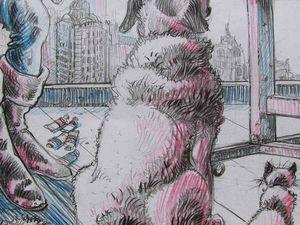 Portrait du peintre en Captain America Crayons sur papier 50x65 Bhavsar