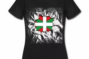 T shirt Pays Basque noir femme 64 Drapeau basque Design