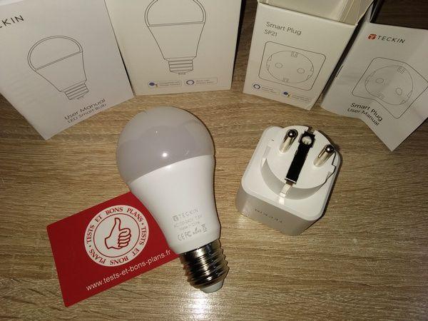 test ampoule et prise connectées compatibles commande vocale TECKIN @ Tests et Bons Plans