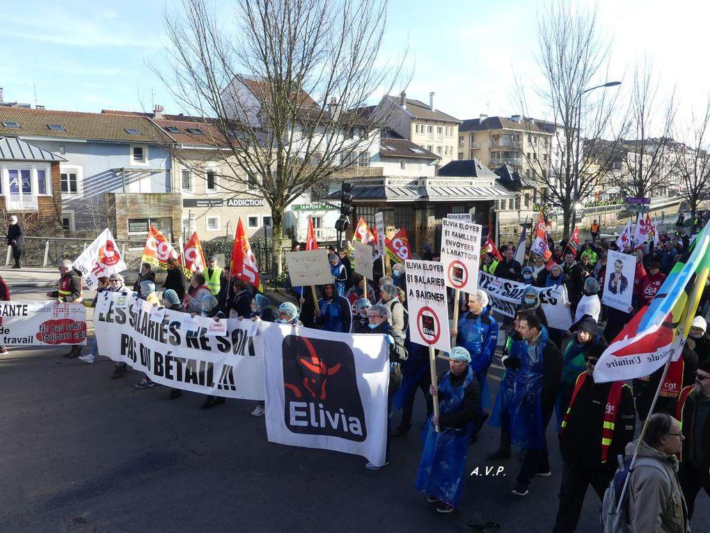 Les 80 licenciés d'Elivia défilent à Epinal avec les syndicats et les Gilets Jaunes