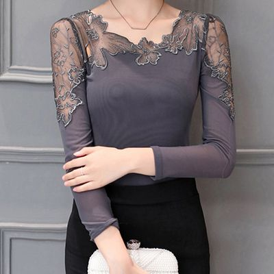 Asymmetric Neck Hollow Out Plain Long Sleeve T-Shirt | Buy Womens Fashion -New offer