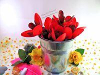 DIY - Centre de Table - Facile - Enfant - Fleurs - Pot - Coquelicot - Rouge - Pétales - Cuillères - Plastique