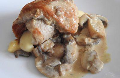 Roulades de veau moutardées au jambon, cantal et ses champignons