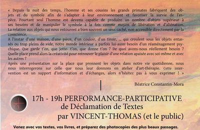 """9 septembre 2017 """"Trait de Confluence"""", au Tier(s) Lieux CéLA (Bergerac), """"L'art et le soin"""", Conférence et poésie déclamée et participative."""