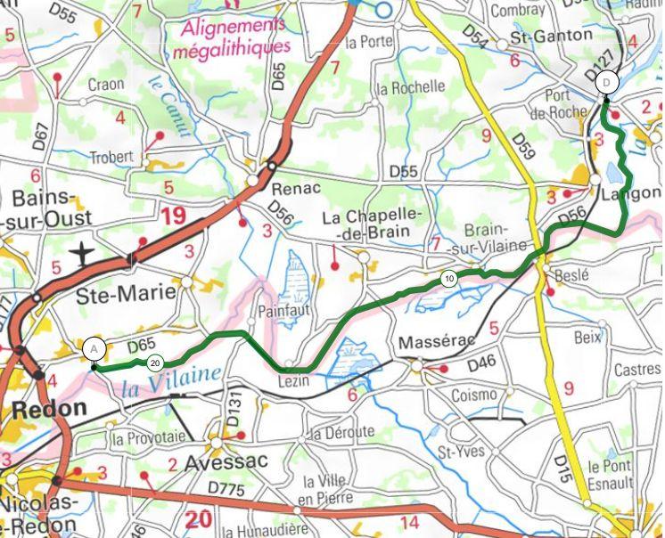 Au fil de la Vilaine - Etape 7 - Port de Roche / Redon -  43,6 km - A.R
