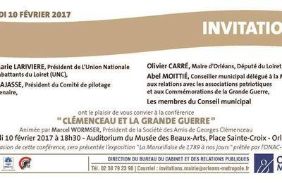 CONFÉRENCE Clémenceau et la Grande Guerre - MBA ORLÉANS - GRATUIT 10 février 2017 dans le cadre du Centenaire de l'UNC