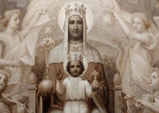 Moniale et Image de la Vierge de Montserrat