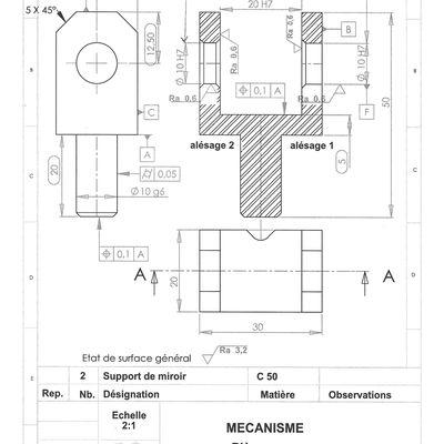 Synthèse Etude des spécifications liées à la fabrication d'une pièce