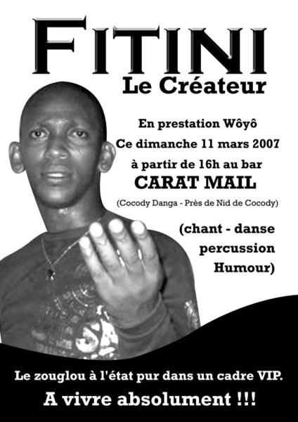 Ambiance zouglou au carat-mail bar à cocody danga. PRemier bar à Abidjan à proposer depuis décembre 2006 un artiste zouglou en prestation wôyô chaque dimanche aprèm. Le carat-mail est actuellement fermé pour travaux. Réouverture bientot avec