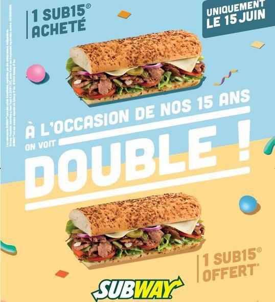 Buzz : SUBWAY® fête ses 15 ans avec le sandwich offert