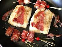 Filet de merlan, jambon cru et noix de St Jacques