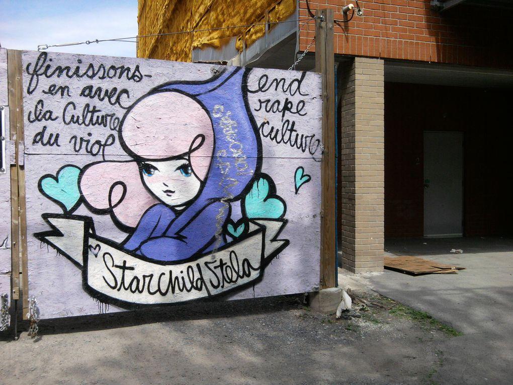 Les demoiselles de Stela aperçues sur les murs montréalais de 2012 à 2017.