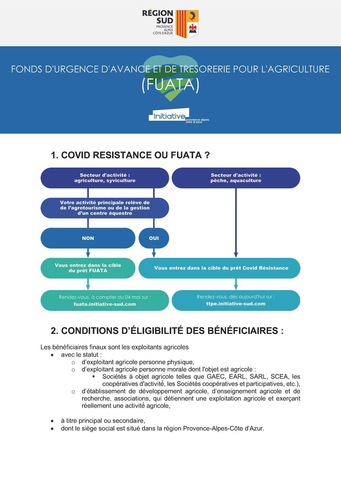 Région information  Fonds d'Urgence d'Avance de Trésorerie pour l'Agriculture auprès des exploitations agricoles de la Région SUD.