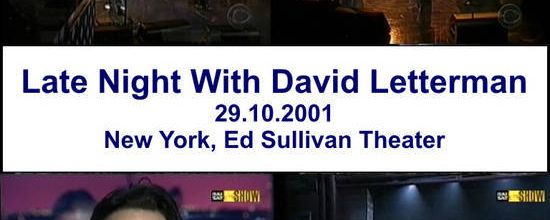 U2 -Late Show with David Letterman -Théâtre Ed Sullivan -New York -29/10/2001