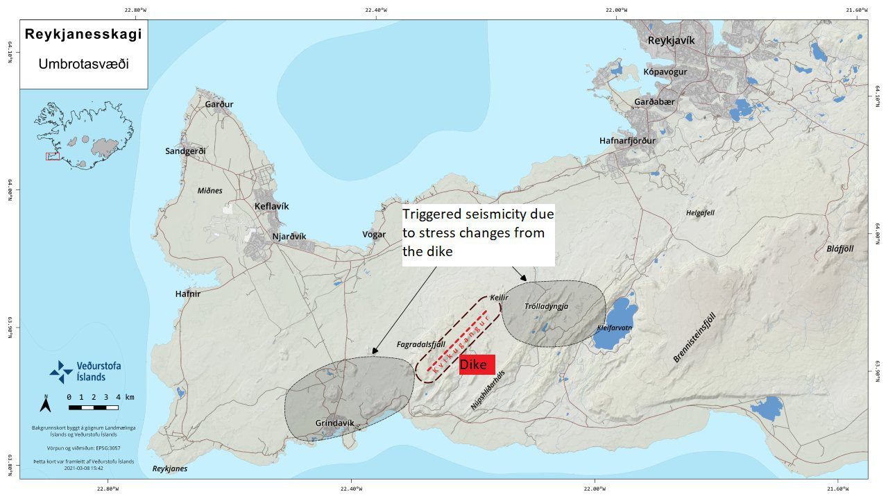 Reykjanes Peninsula - The red line marks the magma intrusion (dike) below the area between Fagradalsfjall and Keilir. Gray areas indicate places where tension release earthquakes can occur - Doc. IMO 09.03.2021 via Kristín Jónsdóttir