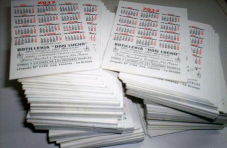 """Impresión de Calendarios de bolsilo para """"Botillería Don Lucho"""""""