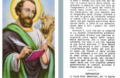18 Ottobre : San Luca Evangelista - Preghiera e Litanie
