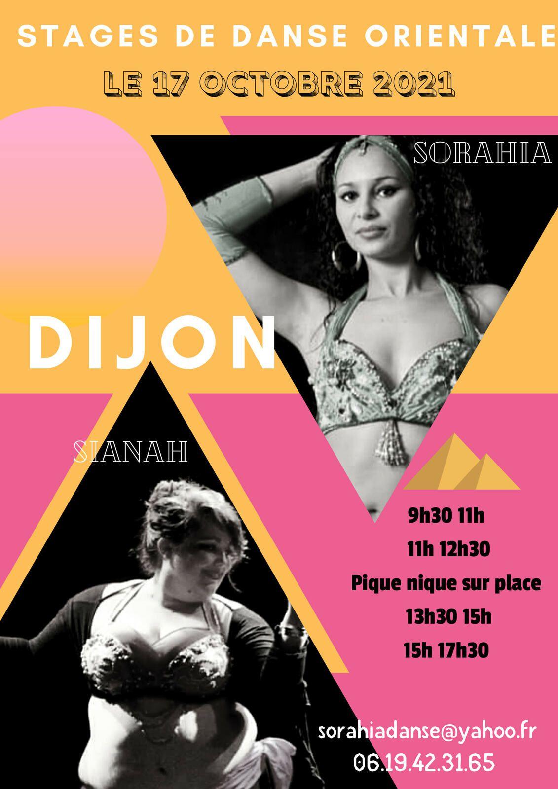 Stages de Danses Orientales le 17 octobre à Dijon avec Sorahia et Sianah