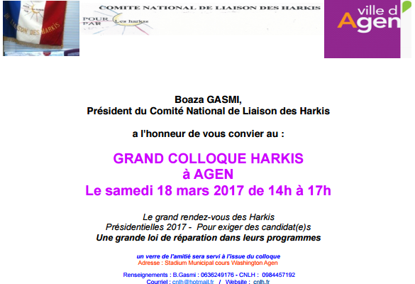 le Samedi 18 mars 2017 de 14 h à 17 h Invitation au grand colloque Harkis au Stadium municipal 17 - 22, Cours Washington à  Agen