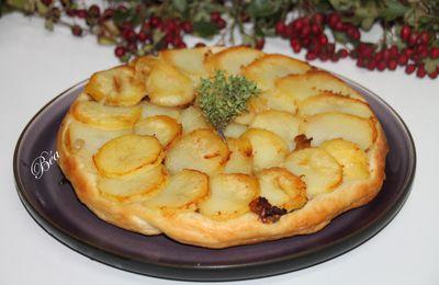 Tatin aux pommes de terre, tomates séchées et shiitaké