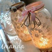 Burlap & Doily Luminaries - wedding jar lanterns