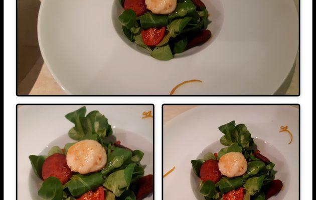 Salade de mâche au St Jacques, orange et gingembre