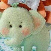 Molde elefantinho de feltro da Erica Catarina