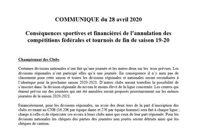 Communiqué du CNB officialisant la fin de saison 2019/2020, et les mesures prises.