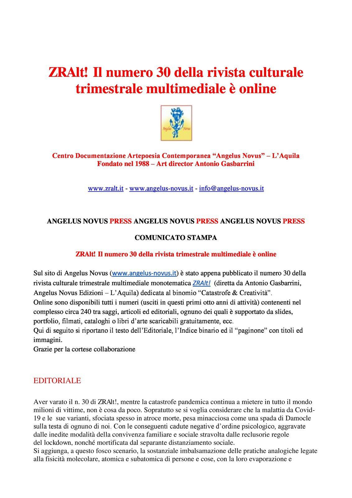 ZRAlt! Il numero 30 della rivista trimestrale multimediale di Antonio Gasbarrini è online – Con interventi di Eva Rachele Grassi e Ermanno Senatore