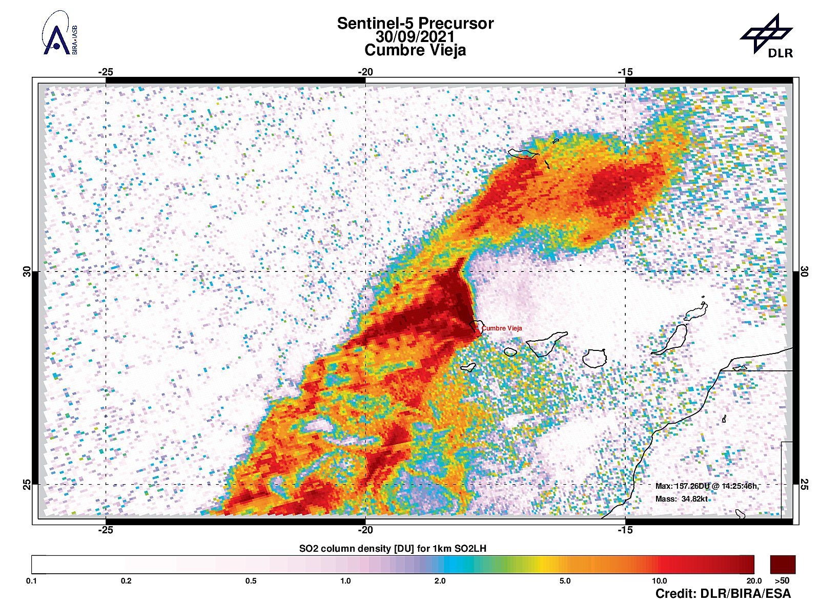 Cumbre Vieja - 30.09.2021 - strong SO2 signal at a distance of 54.7 km for CumbreVieja with 56.39DU of SO2 at an altitude of ~ 1km. - Image Sentinel-5P Tropomi / DLR / BIRA / ESA