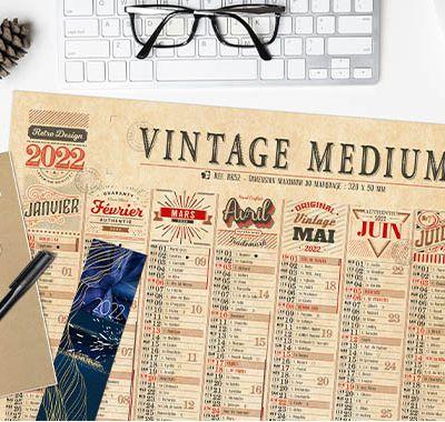 Le nouveau calendrier publicitaire 2022 Vintage à personnaliser avec votre publicité
