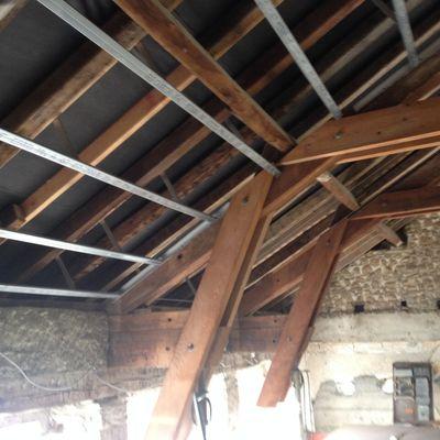 plafond rampant avec poutres apparentes
