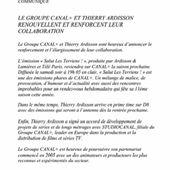 Groupe Canal+ et collaboration avec Ardisson, communiqué. - LeBlogTvNews