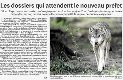 Les dossiers qui attendent le nouveau préfet (Vosges Matin)